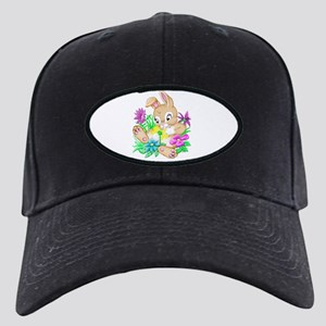 Bunny With Flowers Black Cap