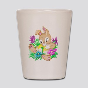 Bunny With Flowers Shot Glass