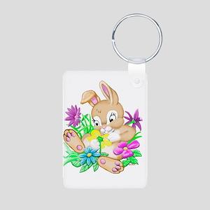 Bunny With Flowers Aluminum Photo Keychain