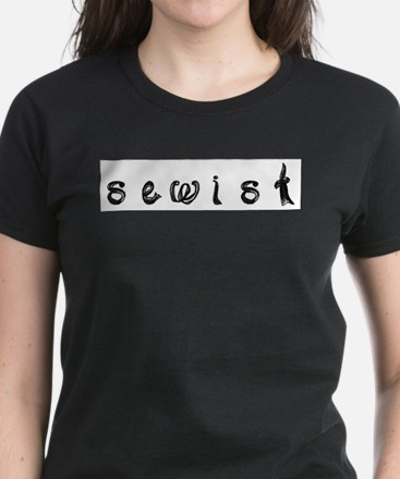 sewist fabric letters font black and white T-Shirt