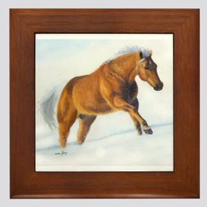 Palomino snow Run Framed Tile