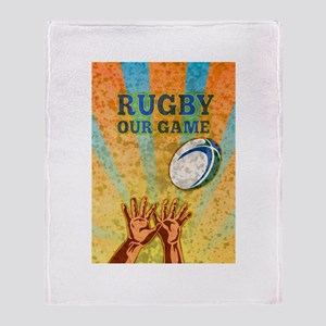 rugby player ball Throw Blanket
