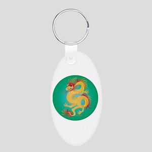Golden Dragon on Jade Aluminum Oval Keychain