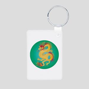 Golden Dragon on Jade Aluminum Photo Keychain