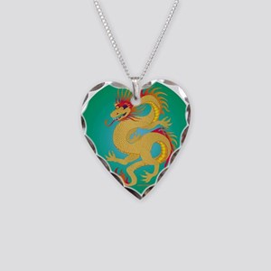 Golden Dragon on Jade Necklace Heart Charm