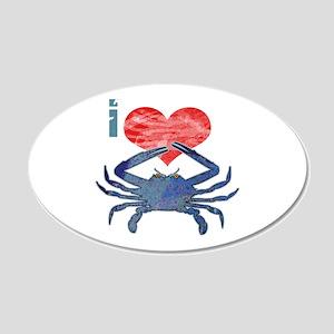 I Love Crab 22x14 Oval Wall Peel