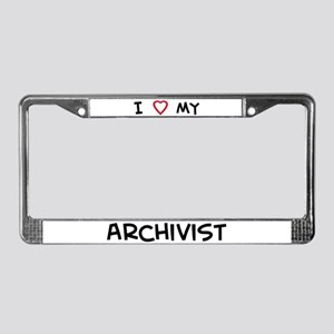 I Love Archivist License Plate Frame