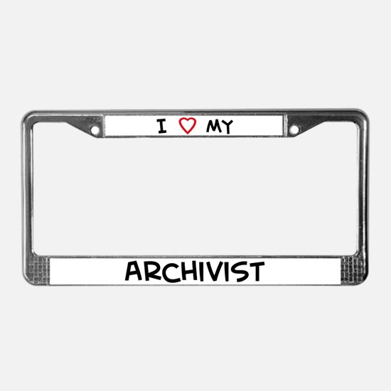 I Love Archivist License Plate Frame