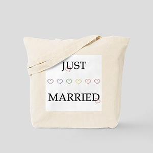 Gay Rainbow Just Married Tote Bag