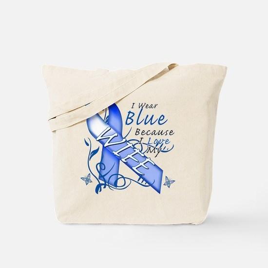 I Wear Blue Because I Love My Wife Tote Bag