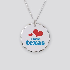 I Love Texas Necklace Circle Charm