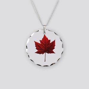 Canada Maple Leaf Necklace Circle Charm