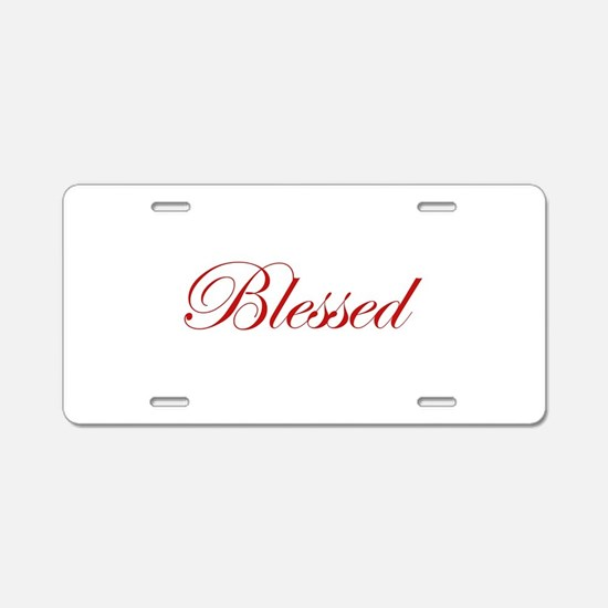 Red Blessed Aluminum License Plate