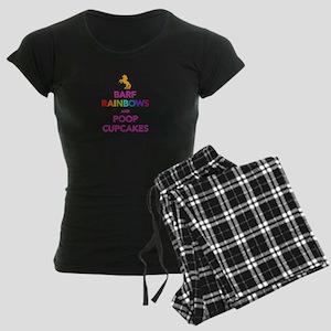 Barf Rainbows and Poop Cupcak Women's Dark Pajamas