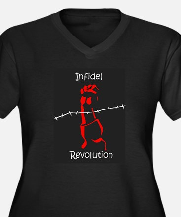 INFIDEL REVOLUTION Women's Plus Size V-Neck Dark T