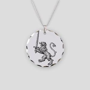 Lion Sword Necklace Circle Charm