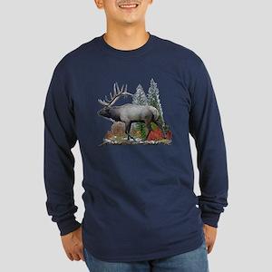 Bull Elk Long Sleeve Dark T-Shirt