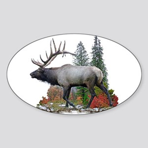Bull Elk Sticker (Oval)