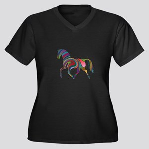 Horse Of Many Colors Women's Plus Size V-Neck Dark
