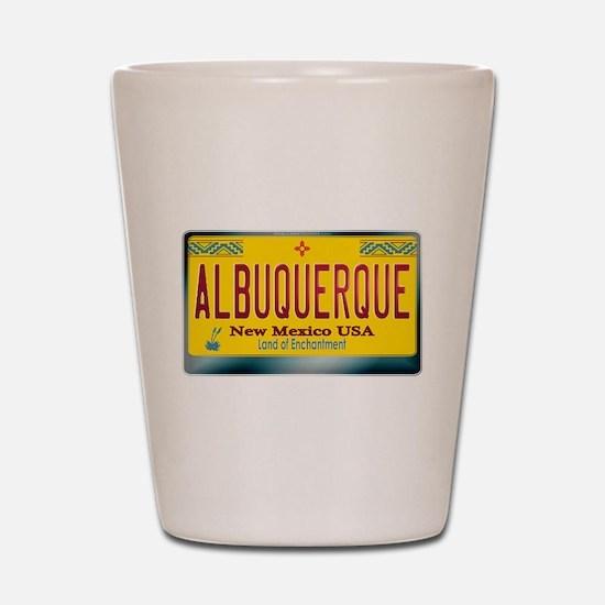 """""""ALBUQUERQUE"""" New Mexico License Plate Shot Glass"""