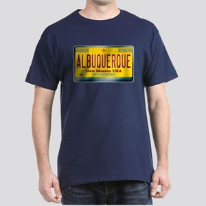 """ALBUQUERQUE"" New Mexico License Plate Dark T-Shir"