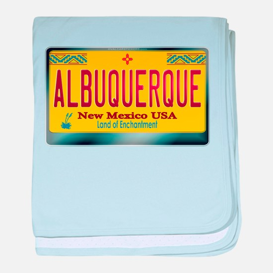 """""""ALBUQUERQUE"""" New Mexico License Plate baby blanke"""