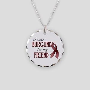 Wear Burgundy - Friend Necklace Circle Charm