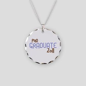 PhD Graduate 2011 (Retro Purple) Necklace Circle C