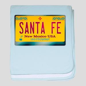 """SANTA FE"" New Mexico License Plate baby blanket"