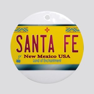 """""""SANTA FE"""" New Mexico License Plate Ornament (Roun"""
