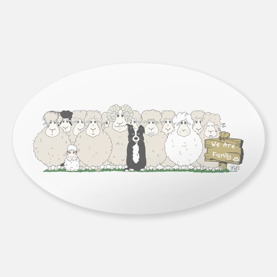 Sheep Family Sticker (oval)