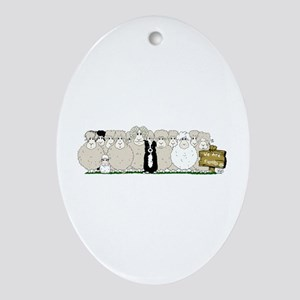 Sheep Family Ornament (Oval)