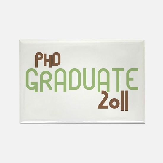 PhD Graduate 2011 (Retro Green) Rectangle Magnet (