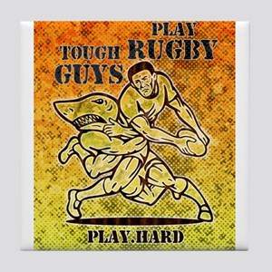 rugby player shark Tile Coaster