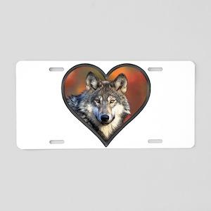 Wolf Heart Aluminum License Plate