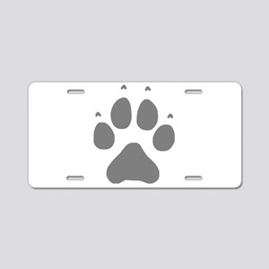 Wolf Paw Print Aluminum License Plate