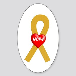 Gold Hope Oval Sticker