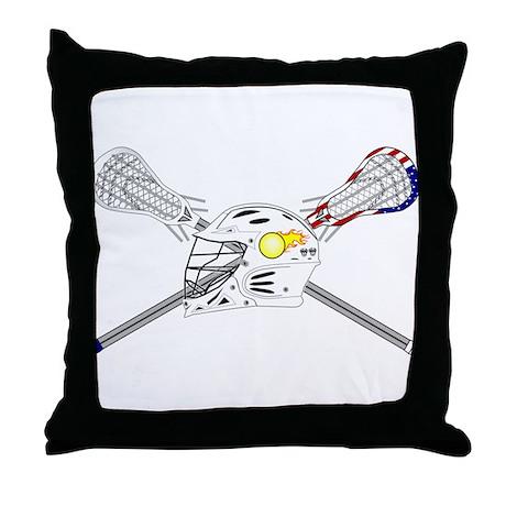 Lacrosse Helmet Throw Pillow