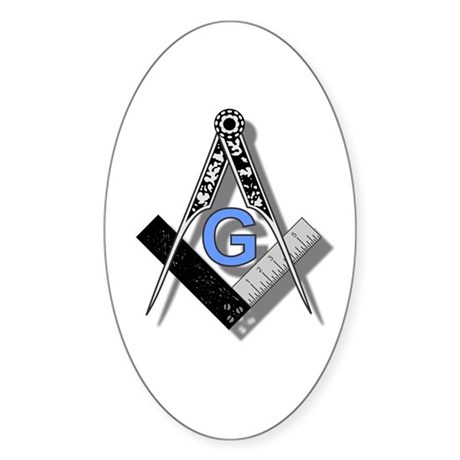 Masonic Square and Compass #2 Sticker (Oval)