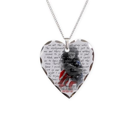 ARMY WIFE POEM Necklace Heart Charm