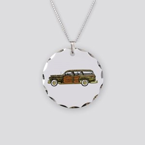 Classic Woody Station wagon Necklace Circle Charm
