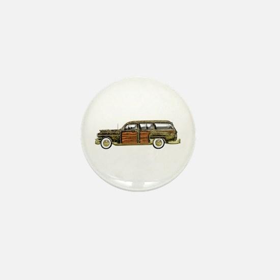 Classic Woody Station wagon Mini Button