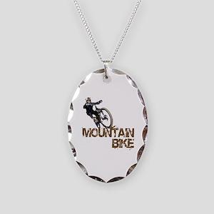 Mountain Bike Necklace Oval Charm