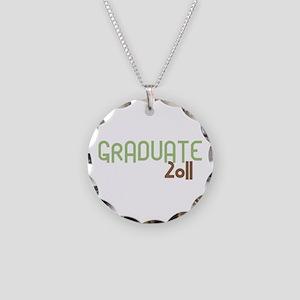 Graduate 2011 (Retro Green) Necklace Circle Charm