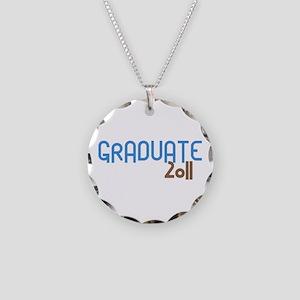 Graduate 2011 (Retro Blue) Necklace Circle Charm