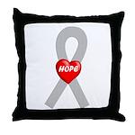 Gray Hope Throw Pillow