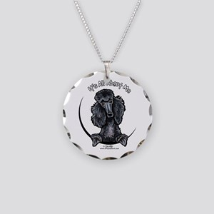 Black Standard Poodle IAAM Necklace Circle Charm