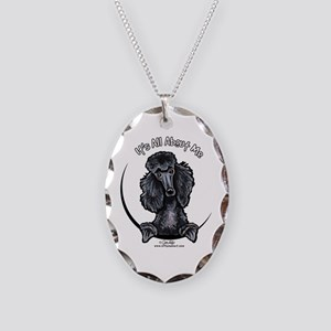 Black Standard Poodle IAAM Necklace Oval Charm