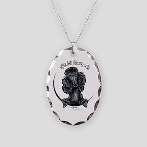 Black Standard Poodle IAAM Necklace Oval Charm