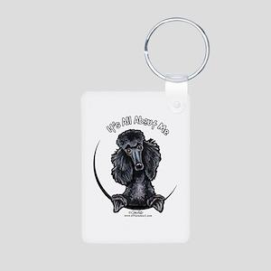 Black Standard Poodle IAAM Aluminum Photo Keychain
